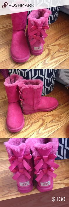 Bailey how uggs Hot pink Bailey bow uggs. Only worn once. In amazing condition UGG Shoes Winter & Rain Boots