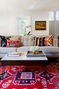 Pillow mix and rug | Bala Cynwyd mid-century by Design Manifest, PA.