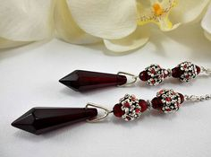 Set of Two Ruby Red Crystal Ceiling Fan Pulls Light Pull