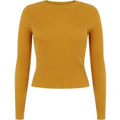 Yellow Long Sleeve Rib Jumper (2.895 HUF) ❤ liked on Polyvore featuring tops, sweaters, long sleeves, jumpers, corn yellow, mustard crop top, yellow crop sweater, long sleeve tops, mustard sweaters and round neck sweater