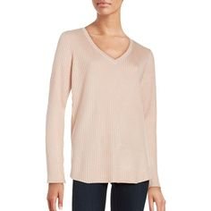 Calvin Klein Ribbed V-Neck Sweater ($52) ❤ liked on Polyvore featuring tops, sweaters, blush, pink pullover sweater, pullover sweaters, pink sweater, sweater pullover and v-neck pullover sweater