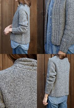 walpole chunky knitted cardigan how to - similar to Aidez but plainer. Could make from reclaimed brown tweed or manhatten?