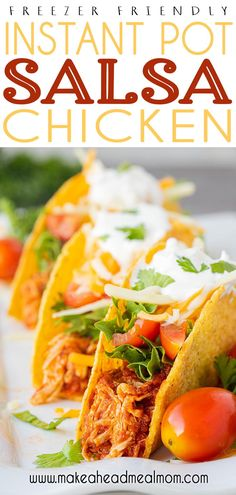 Simple, basic ingredients combine to make this easy dinner that is ready to hit your table in under 30 minutes!  Full of flavor, and full of potential - nachos, tacos, salad, burritos, quesadillas - you name it!  Best of all, you can prep it ahead as a freezer meal OR cook and then freeze after for an even faster future meal! #freezerfriendly #freezermeals #freezer #makeahead #salsachicken #instantpot #easydinner #chicken Chicken Freezer Meals, Healthy Freezer Meals, Dump Meals, Make Ahead Meals, Easy Meals, Meal Recipes, Side Dish Recipes, Crockpot Recipes, Healthy Recipes