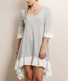 Another great find on #zulily! Heather Gray Lace-Accent Dress #zulilyfinds