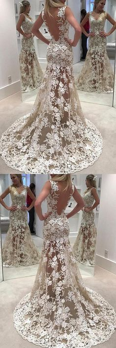 Wedding Dresses For Cheap, Wedding Dresses Lace, Open Back Wedding Dresses, Sleeveless Wedding Dresses, Wedding Dresses 2018, Wedding Dresses With Appliques #WeddingDressesLace #WeddingDresses2018 #SleevelessWeddingDresses #WeddingDressesForCheap #OpenBackWeddingDresses #WeddingDressesWithAppliques