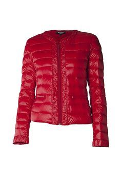 Fjäderlätt jacka i vacker modell Red Leather, Leather Jacket, Jackets, Fashion, Model, Studded Leather Jacket, Down Jackets, Moda, Fashion Styles