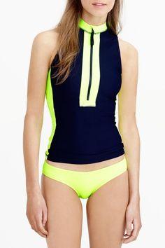 Color Block Zip Front Two Piece Swimsuit - OASAP.com