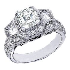Asscher Cut Diamond Vintage Style Engagement Ring Setting with Trapezoids in 14K White Gold