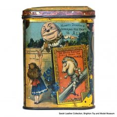 """Alice Through the Looking-Glass biscuit tin, panel """"Humpty Dumpty Offering His Hand To Alice"""", """"The White Knight Sliding Down The Poker"""" Vintage Tins, Vintage Antiques, Tin Containers, Vintage Packaging, Tin Man, Tin Toys, Through The Looking Glass, Metal Tins, Vintage Advertisements"""