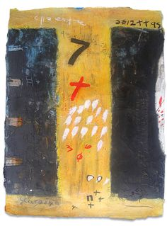 "Composición # 9  2012  Acrylic, charcoal, black gesso, synthetic polymer, graphite, metal dust, archival newsprint on paper  24"" x 18"" inches - 61cm x 46cm. unframed"