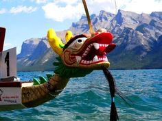 Dragon boat race on Lake Minnewanka at Banff National Park. Banff National Park, National Parks, Dragon Boat, Racing, Running, Lace, State Parks