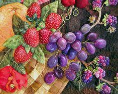 Sandra Leichner applique workshop. The strawberries look real!