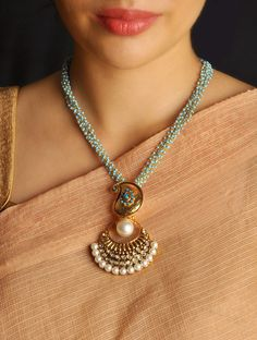 Buy Gold Blue Kundan Necklace Metal Jewelry Fashion Online at Jaypore.com
