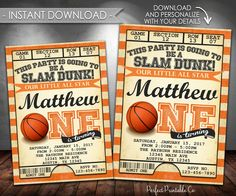 Basketball Invitation, Basketball Birthday Party Invitation, Basketball Invite, One, First, 1st, Instant Download, Editable PDF #547 by PerfectPrintableCo on Etsy Invitation Card Birthday, Invitation Cards, Invite, Basketball Birthday Parties, Birthday Decorations, Birthday Ideas, Event Decor, Party Time, Projects To Try