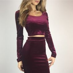 V- day ❤️ Burgandy Velvet Crop Top S M L Info to Follow.. Part of two piece set. Sold separately. Price Firm. Tops Crop Tops