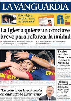 Los Titulares y Portadas de Noticias Destacadas Españolas del 10 de Marzo de 2013 del Diario La Vanguardia ¿Que le pareció esta Portada de este Diario Español?