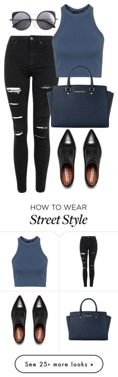 """""""Street Style: Black Jeans"""" by dhiandraseptia on Polyvore featuring Topshop, Acne Studios, Michael Kors, Wood Wood, women's clothing, women's fashion, women, female, woman and misses"""