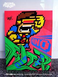8-Bit Graffiti Cyclops via @Geek_Art