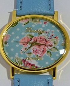 Geneva Womens Gold Plated Floral Flower design dial Geneva PU Leather strap Quartz Watch (Red strap G6) Geneva Flower Floral design dial quartz strap watch for the Ladies /Girls. Works from Quartz Battery and fitted to a PU Leather strap Supplied in unbra