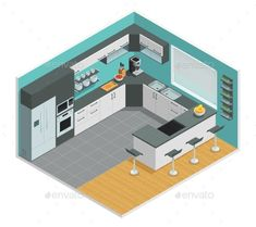 Buy Kitchen Interior Isometric Design by macrovector on GraphicRiver. Color isometric design of kitchen interior with chair cupboard and table vector illustration. Editable EPS and Render. Kitchen Room Design, Best Kitchen Designs, Modern Kitchen Design, Home Decor Kitchen, Interior Design Kitchen, Buy Kitchen, Interior Modern, Kitchen Furniture, Kitchen Ideas