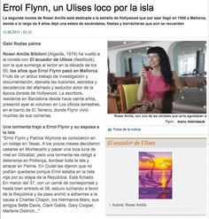 roser amills diario de mallorca el ecuador de ulises junio 2015 Errol Flynn, Ecuador, Magazines, Articles, Books, 9 Year Olds, Hollywood Stars, June, Diary Book