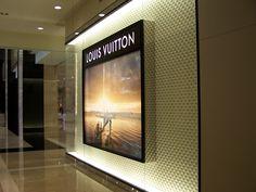 LV window light box advertising Light Box Display, Exhibition Space, Flat Screen, Advertising, Loft, Windows, Glass, Blood Plasma, Drinkware