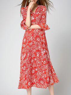Shop Maxi Dresses - Floral Vintage A-line Bow Bell Sleeve Maxi Dress online. Discover unique designers fashion at StyleWe.com.