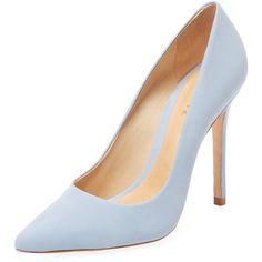 Schutz Women's Gilberta Leather Pointed-Toe Pump - Light/Pastel Blue ($80) ❤ liked on Polyvore featuring shoes, pumps, schutz shoes, blue pointed toe pumps, blue pumps, blue leather shoes and high heel pumps