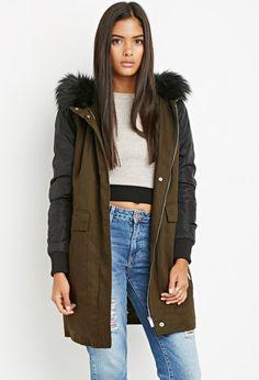 Faux Fur Hood Utility Jacket | LOVE21 - 2000156051