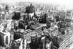 The Bombing of Dresden took place February 1945 during World War II. In the course of the bombing, Dresden was struck by British and American aircraft which resulted in the destruction of the city and widespread civilian casualties. Dresden Germany, Nagasaki, Hiroshima, Dresden Bombing, Slaughterhouse Five, Rare Historical Photos, Today In History, Prisoners Of War, Germany
