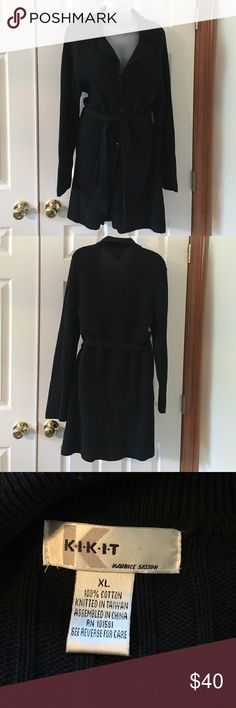 Beautiful black sweater coat. 100% cotton. Excellent condition. No holes, tears or rips. Non-smoking home. Kikk it Jackets & Coats