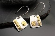Silver and Gold Altered Square Earrings by designsbysuzyn on Etsy, $53.00