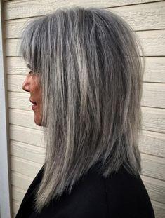 Medium Salt And Pepper Hairstyle With Bangs Grey Hair With Bangs, Grey Hair Over 50, Grey Blonde Hair, Grey Curly Hair, Silver Grey Hair, Short Grey Hair, Lilac Hair, Emo Hair, Pastel Hair