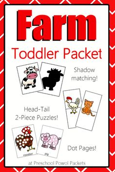 Toddler Farm Animals Packet (from Preschool Powol Packets)