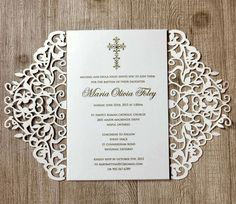 Laser cut lace baptism invitations by IngledewInvites on Etsy