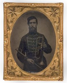 Quarter Plate Tintype of Union Musician with Sword