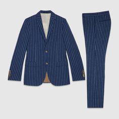 Gucci Monaco striped wool linen silk suit
