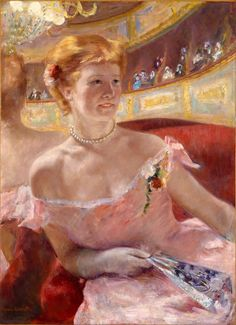 Mary Cassatt | Woman with a Pearl Necklace in a Loge, 1879