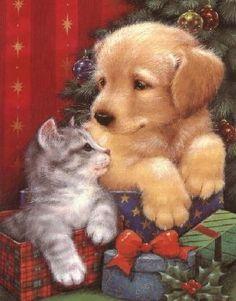 Christmas Pets -- no artist listed Christmas Scenes, Christmas Animals, Christmas Images, Christmas Cats, Winter Christmas, Christmas Holidays, Christmas Puppy, Illustration Noel, Christmas Illustration