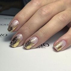 23 Beautiful Nail Art Designs and French Manicure in Acrylic and Gel polish.Trending summer nail pattern. Blue, Pink, Purples Rainbow, Coral, Floral colors. Gold leaf pattern on pink nails. I usually don't like gold nails but this is pretty simple and anyone can pull it off. It blends well with the pink base nail.