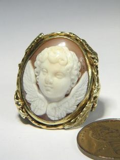 Terrific English 18K Gold Antique Carved Shell Cameo Ring Cupid Eros | eBay