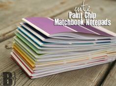 Paint chip matchbook notepads: looks like scrap paper sewed into a paint chip. got it.