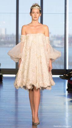 FRANCESCA MIRANDA bridal spring 2017 off shoulder bishop sleeves short tent lace wedding dress (talitha) mv  #bridal #wedding #weddingdress #weddinggown #bridalgown #dreamgown #dreamdress #engaged #inspiration #bridalinspiration #weddinginspiration #weddingdresses