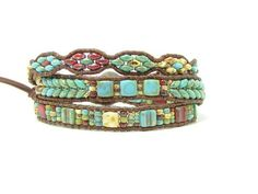 Your place to buy and sell all things handmade Super Duo Beads, Beaded Leather Wraps, Triple Wrap, Beaded Wrap Bracelets, Southwest Style, Chan Luu, Metal Buttons, Flower Patterns, Herringbone