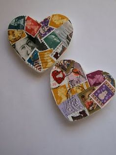 Reusing Old, Removed Postage Stamps ~Christmas Ornament