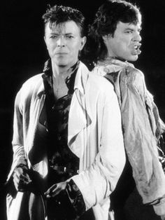 """David Bowie with Mick Jagger performing """"Dancing in the Street"""" (1985)"""