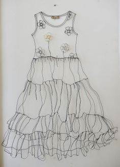'Original' dress in metal wire and embroidery