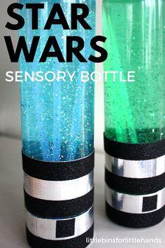 Light Saber Sensory Bottles for kid's Star Wars Activities Turn a glitter sensory bottle into a light saber for a Star Wars activity. Glow in the dark kids craft. Sensory bottles also make great calm down bottles for anxious kids.