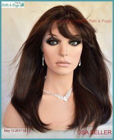 Premium Human Hair Monopart Long w/ Bangs Wig #4  Slinky Girl Next Door Look 462 #elagante #Bangs