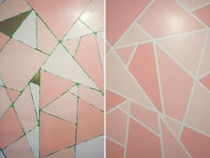 KaelahBee.com : Office Makeover - Geometric Glitter Wall DIY - Perfect afternoon project in order to spruce up a room in your home! Cheap + easy!